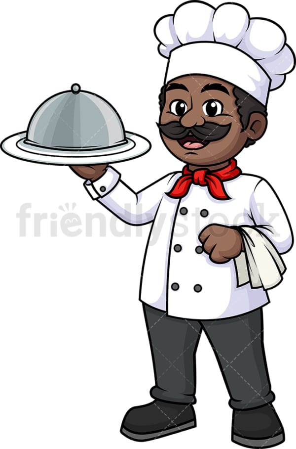 Black male chef holding spatula. PNG - JPG and vector EPS (infinitely scalable).