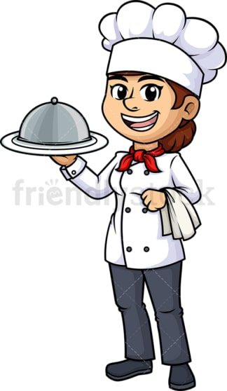Female chef holding spatula. PNG - JPG and vector EPS (infinitely scalable).