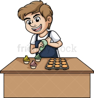 Man making cupcakes. PNG - JPG and vector EPS (infinitely scalable). Image isolated on transparent background.