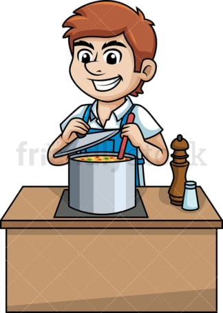Man making soup. PNG - JPG and vector EPS (infinitely scalable).