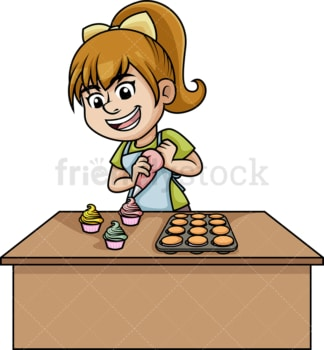 Woman baking cupcakes. PNG - JPG and vector EPS (infinitely scalable). Image isolated on transparent background.