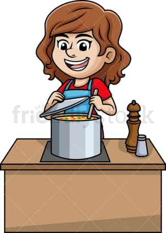 Woman cooking soup. PNG - JPG and vector EPS (infinitely scalable).
