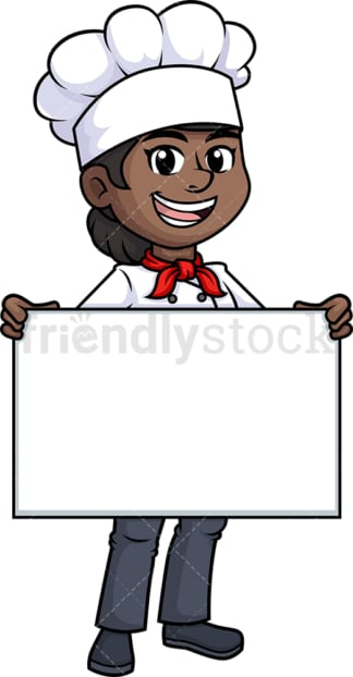 Black female chef holding empty sign. PNG - JPG and vector EPS (infinitely scalable).