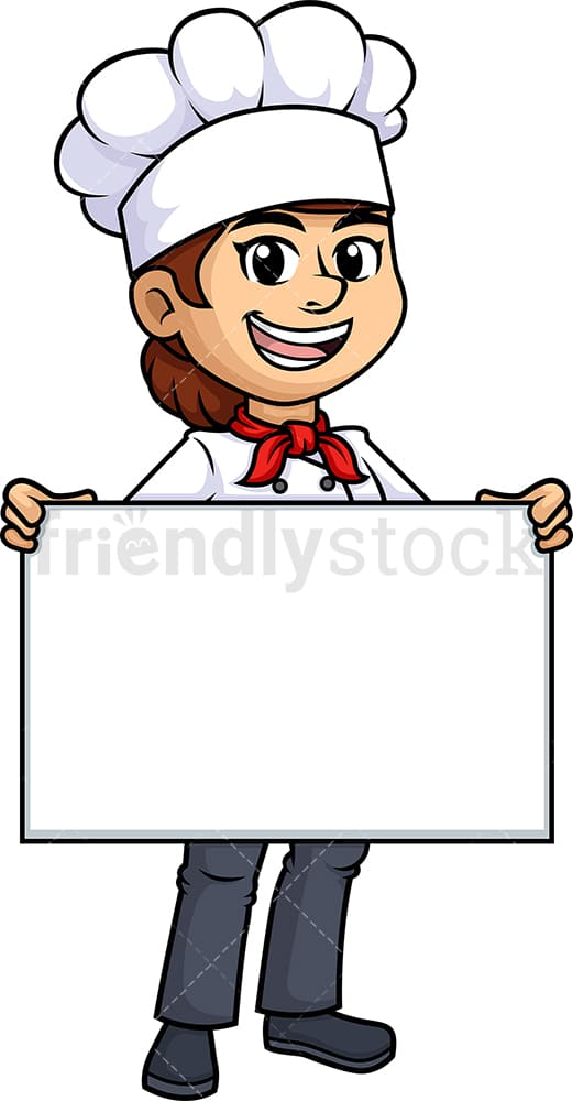 Female chef holding empty sign. PNG - JPG and vector EPS (infinitely scalable).