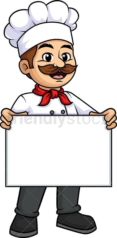 Male chef holding empty sign. PNG - JPG and vector EPS (infinitely scalable).