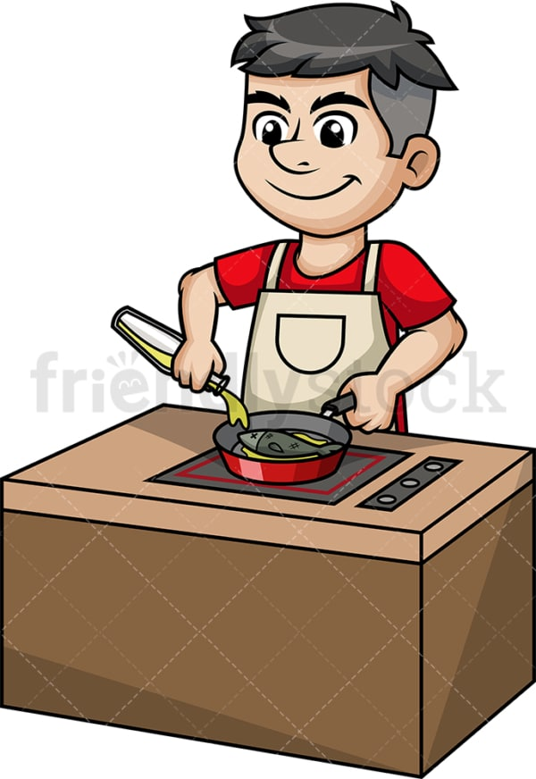 Man frying fish. PNG - JPG and vector EPS (infinitely scalable).