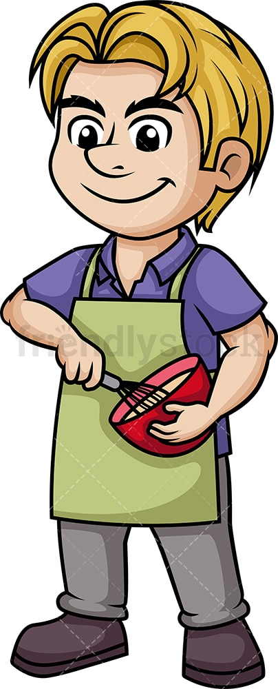 Man whisking batter. PNG - JPG and vector EPS (infinitely scalable). Image isolated on transparent background.