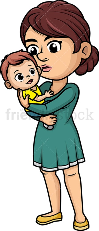 Mom kissing her baby. PNG - JPG and vector EPS (infinitely scalable). Image isolated on transparent background.