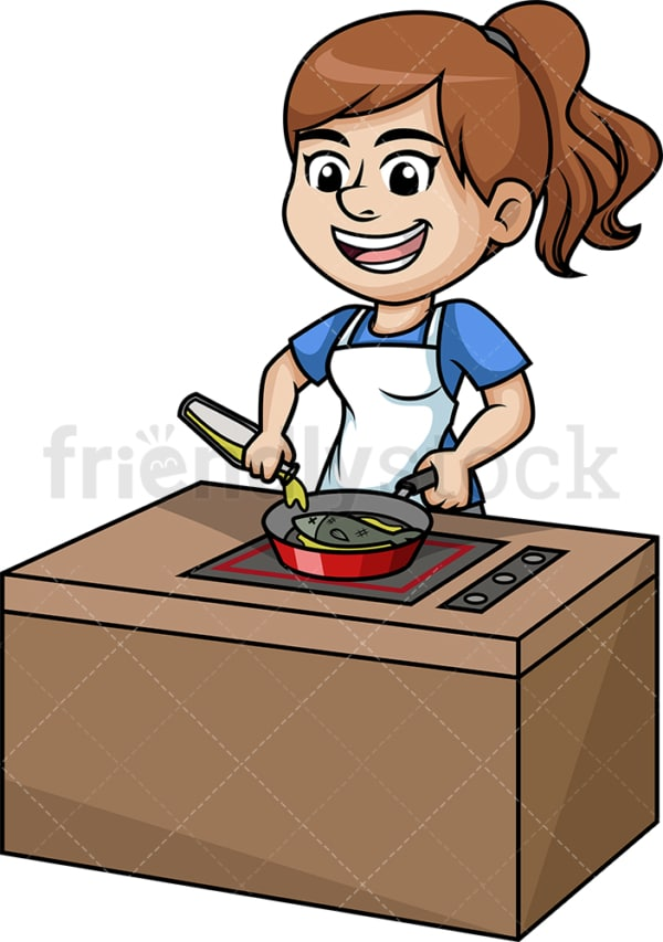 Woman frying fish. PNG - JPG and vector EPS (infinitely scalable).