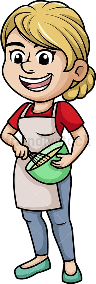 Woman whisking batter. PNG - JPG and vector EPS (infinitely scalable). Image isolated on transparent background.