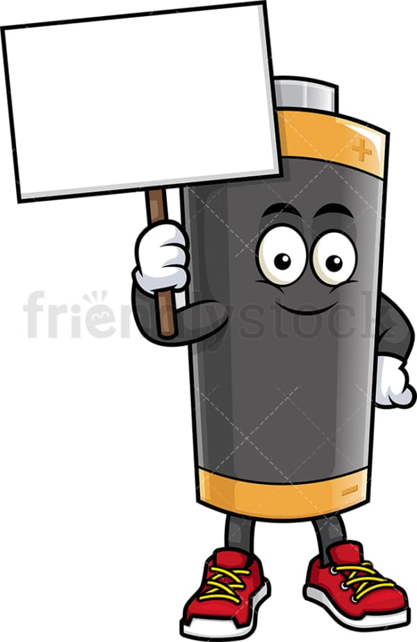 Battery mascot holding blank sign. PNG - JPG and vector EPS (infinitely scalable).