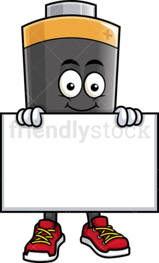 Battery mascot holding empty sign. PNG - JPG and vector EPS (infinitely scalable).