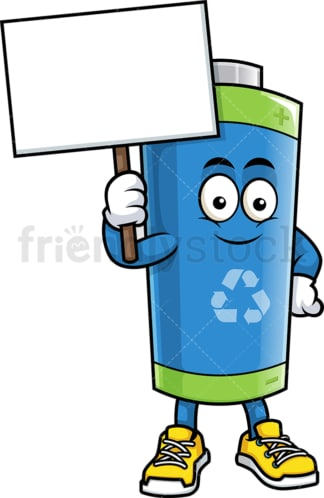 Green ecological battery holding blank sign. PNG - JPG and vector EPS (infinitely scalable).