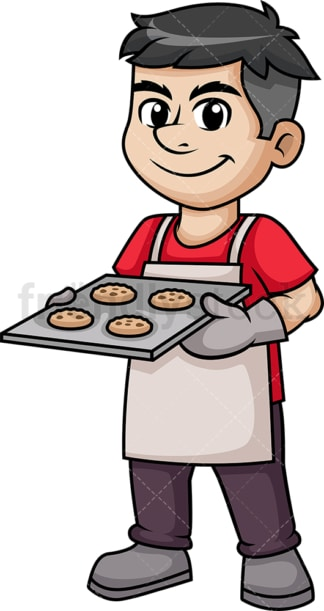 Man baking cookies. PNG - JPG and vector EPS (infinitely scalable). Image isolated on transparent background.