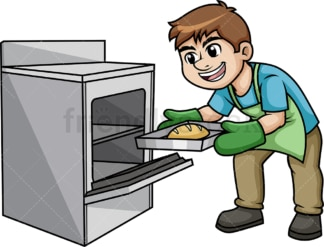 Man removing hot tray from oven. PNG - JPG and vector EPS (infinitely scalable).