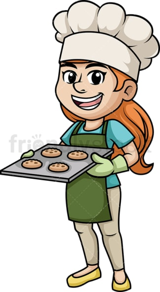 Woman baking cookies. PNG - JPG and vector EPS (infinitely scalable). Image isolated on transparent background.