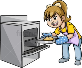 Woman removing hot tray from oven. PNG - JPG and vector EPS (infinitely scalable).
