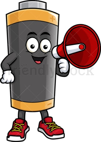 Battery mascot holding loudspeaker. PNG - JPG and vector EPS (infinitely scalable).