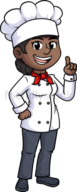Black female chef pointing up. PNG - JPG and vector EPS (infinitely scalable).