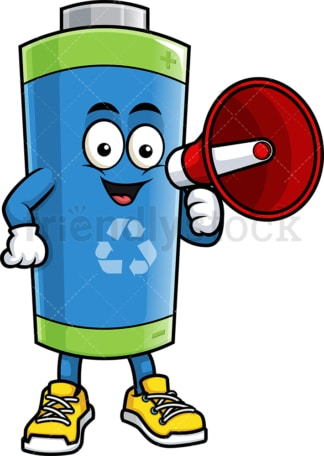 Green ecological battery holding megaphone. PNG - JPG and vector EPS (infinitely scalable).