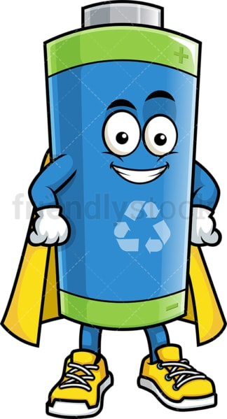 Ecological battery superhero. PNG - JPG and vector EPS (infinitely scalable).