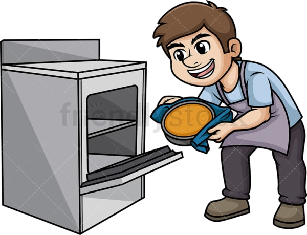 Man baking a cake. PNG - JPG and vector EPS (infinitely scalable). Image isolated on transparent background.
