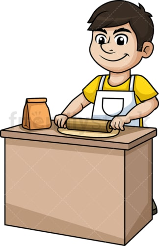 Man flattening dough with rolling pin. PNG - JPG and vector EPS (infinitely scalable).