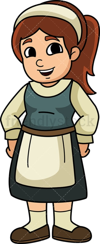 Medieval little girl. PNG - JPG and vector EPS (infinitely scalable).