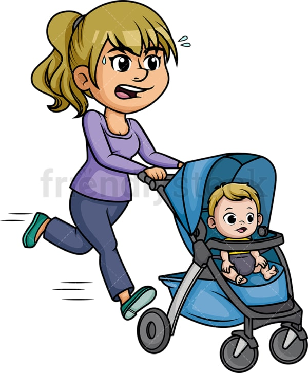 Mom running with stroller. PNG - JPG and vector EPS (infinitely scalable). Image isolated on transparent background.