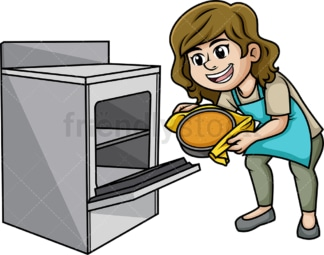 Woman baking cake. PNG - JPG and vector EPS (infinitely scalable). Image isolated on transparent background.