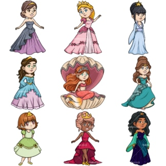 Beautiful princesses. PNG - JPG and vector EPS file formats (infinitely scalable).