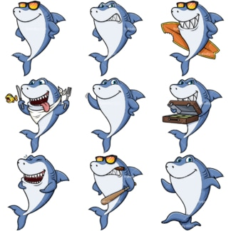 Blue shark mascot. PNG - JPG and vector EPS file formats (infinitely scalable).