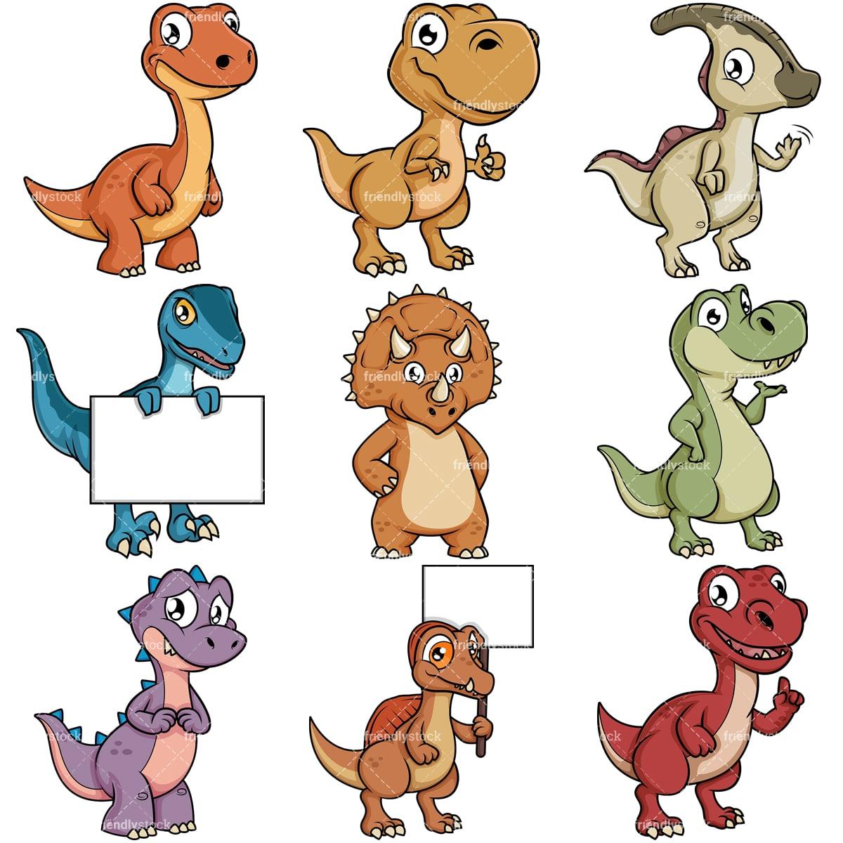 Cute Dinosaur Cartoon Characters Vector Clipart ...