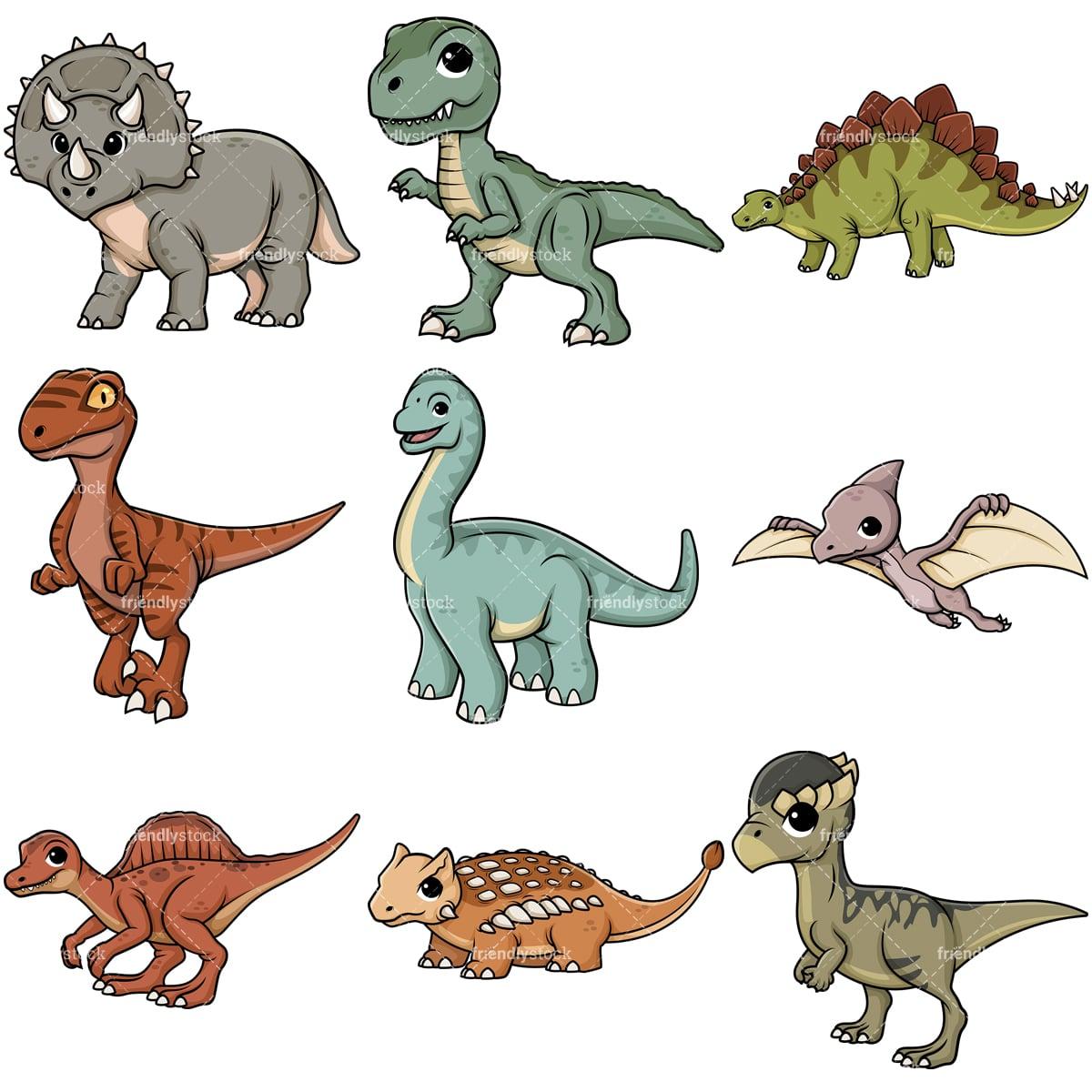 Cute Dinosaurs Cartoon Vector Clipart - FriendlyStock