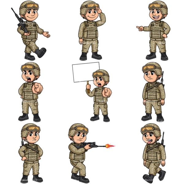 Male soldier. PNG - JPG and vector EPS file formats (infinitely scalable). Image isolated on transparent background.