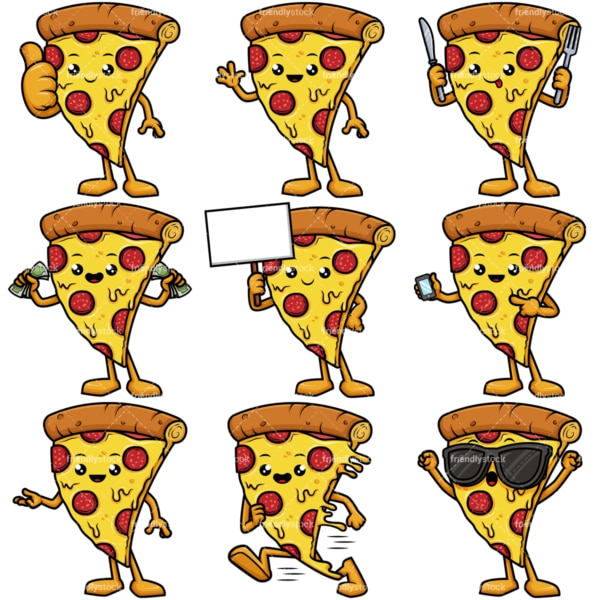 Pizza mascot character. PNG - JPG and vector EPS file formats (infinitely scalable).