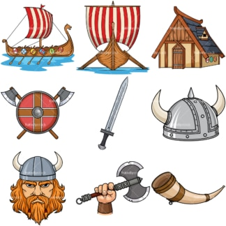 Viking design elements. PNG - JPG and vector EPS file formats (infinitely scalable). Image isolated on transparent background.