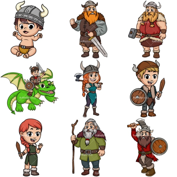 Vikings cartoon. PNG - JPG and vector EPS file formats (infinitely scalable). Image isolated on transparent background.