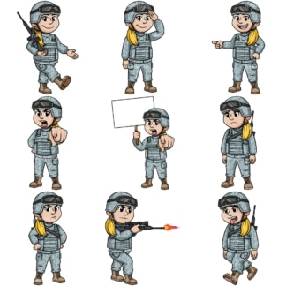 Woman soldier. PNG - JPG and vector EPS file formats (infinitely scalable). Image isolated on transparent background.