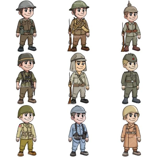 Soldiers from World War 1 and 2. PNG - JPG and vector EPS file formats (infinitely scalable).