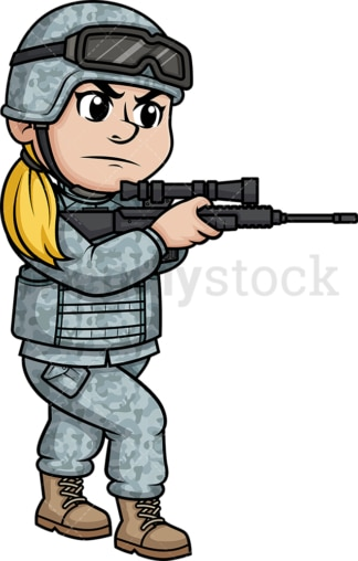 Female soldier aiming with weapon. PNG - JPG and vector EPS (infinitely scalable). Image isolated on transparent background.