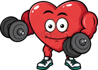 Muscular heart lifting dumbbells. PNG - JPG and vector EPS (infinitely scalable). Image isolated on transparent background.
