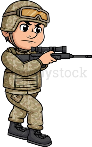Soldier holding a rifle and aiming. PNG - JPG and vector EPS (infinitely scalable). Image isolated on transparent background.