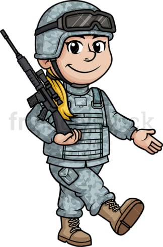 Female soldier marching. PNG - JPG and vector EPS (infinitely scalable). Image isolated on transparent background.