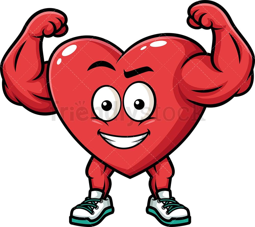 Flexing Strong Heart Cartoon Vector Clipart - FriendlyStock