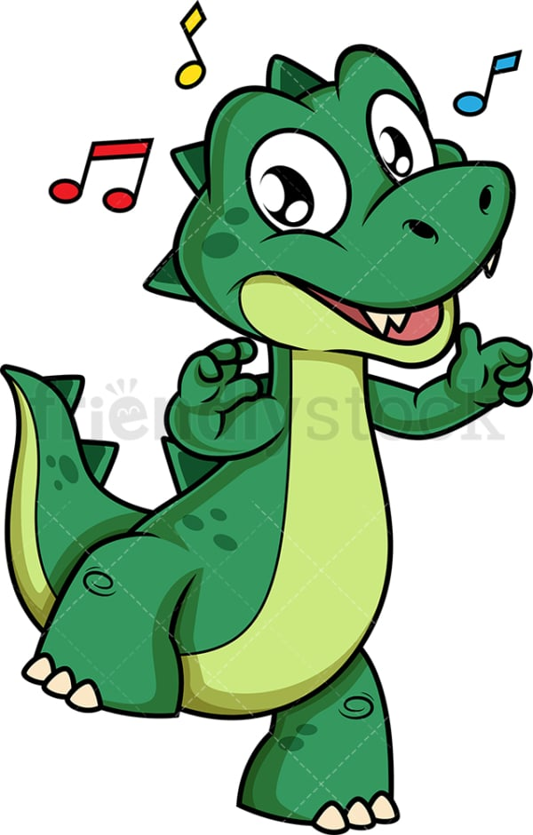 Green dinosaur dancing. PNG - JPG and vector EPS (infinitely scalable).