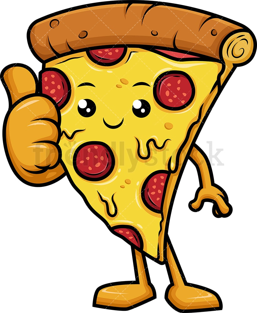 Happy Pizza Character Thumbs Up Cartoon Clipart Vector ...