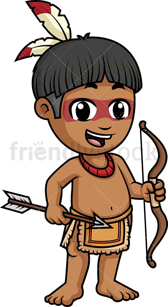 Native american indian little boy. PNG - JPG and vector EPS (infinitely scalable).