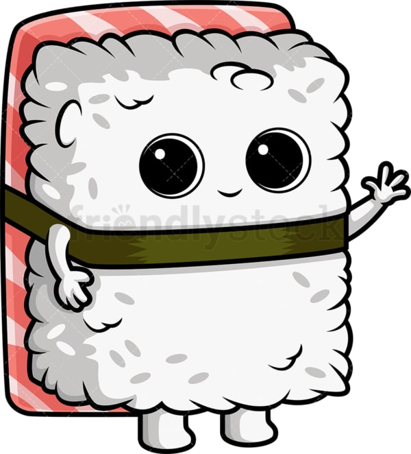 Sushi character waving. PNG - JPG and vector EPS (infinitely scalable).
