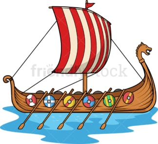 Viking longboat. PNG - JPG and vector EPS (infinitely scalable). Image isolated on transparent background.